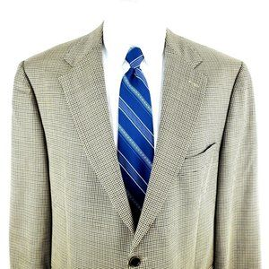 Brooks Brothers 42R 2 Button Houndstooth Tan